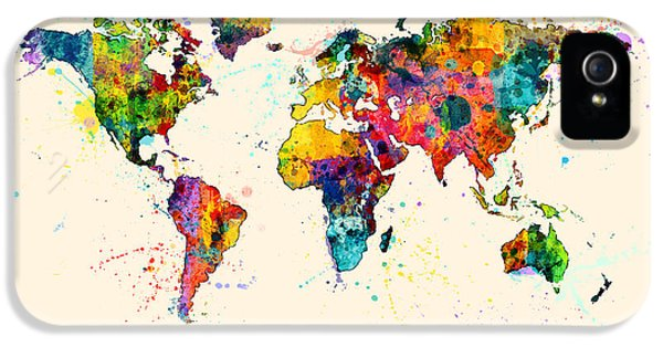 Atlas iPhone 5 Cases - Map of the World Map Watercolor iPhone 5 Case by Michael Tompsett