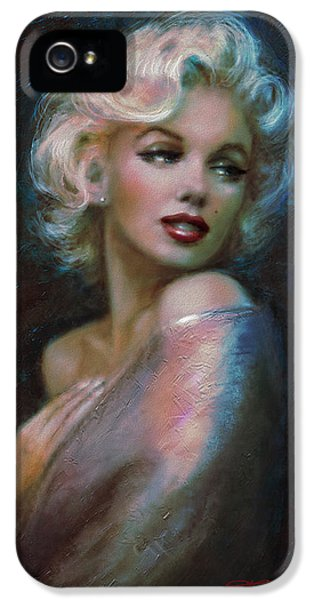 Classical iPhone 5 Cases - Marilyn romantic WW dark blue iPhone 5 Case by Theo Danella