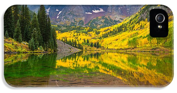 Reflective iPhone 5 Cases - Maroon Bells Reflection iPhone 5 Case by Inge Johnsson