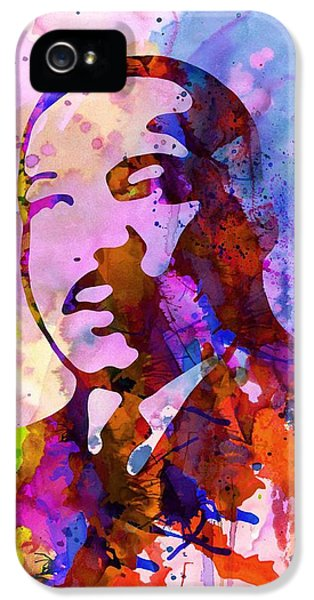 Freedoms iPhone 5 Cases - Martin Luther King Jr Watercolor iPhone 5 Case by Naxart Studio