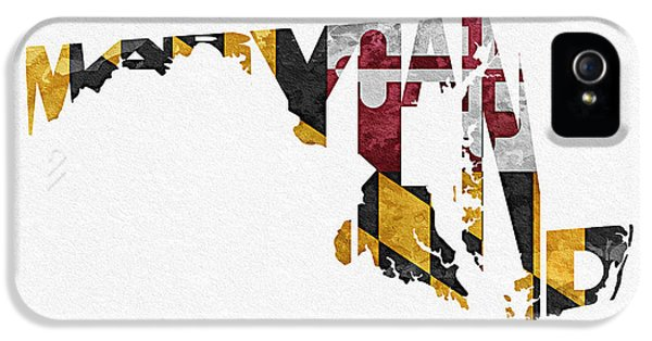 Steampunk iPhone 5 Cases - Maryland Typographic Map Flag iPhone 5 Case by Ayse Deniz
