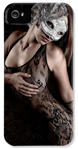 Abdomen iPhone 5 Cases - Mask and Lace iPhone 5 Case by Jt PhotoDesign
