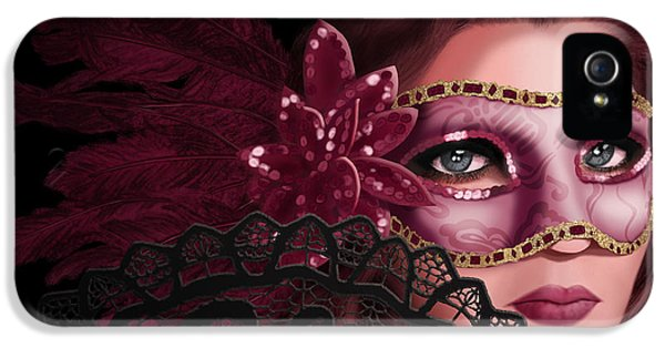 Mask iPhone 5 Cases - Masked I iPhone 5 Case by April Moen