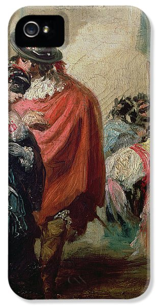 Mask iPhone 5 Cases - Masquerade Oil On Canvas iPhone 5 Case by Eugenio Lucas y Padilla