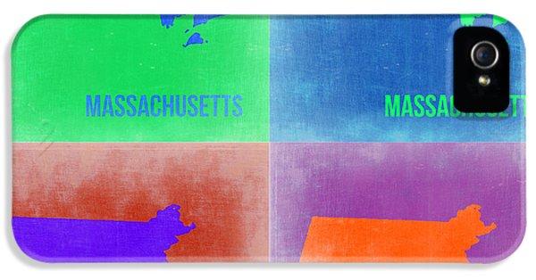 Massachusetts iPhone 5 Cases - Massachusetts Pop Art Map 2 iPhone 5 Case by Naxart Studio