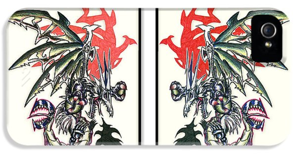 Mech iPhone 5 Cases - Mech Dragons Collide iPhone 5 Case by Shawn Dall