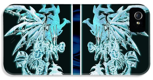 Mech iPhone 5 Cases - Mech Dragons Diamond Ice Crystals iPhone 5 Case by Shawn Dall