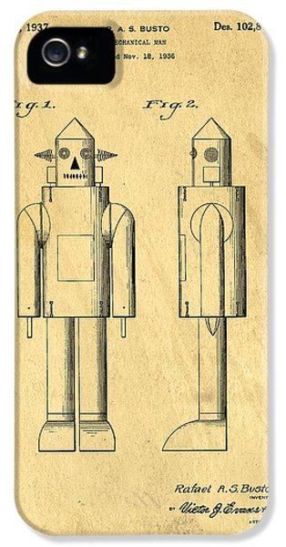 Robot iPhone 5 Cases - Mechanical Man Patent iPhone 5 Case by Edward Fielding