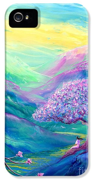 Flowering iPhone 5 Cases - Meditation in Mauve iPhone 5 Case by Jane Small