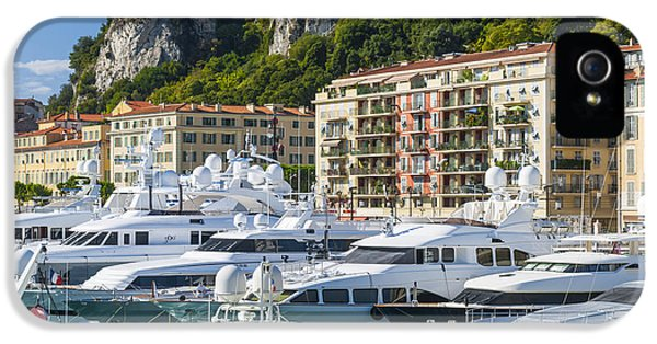Harborfront iPhone 5 Cases - Mega yachts in Port of Nice France iPhone 5 Case by Elena Elisseeva