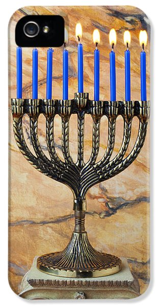 Hanukkah iPhone 5 Cases - Menorah with blue candles iPhone 5 Case by Garry Gay