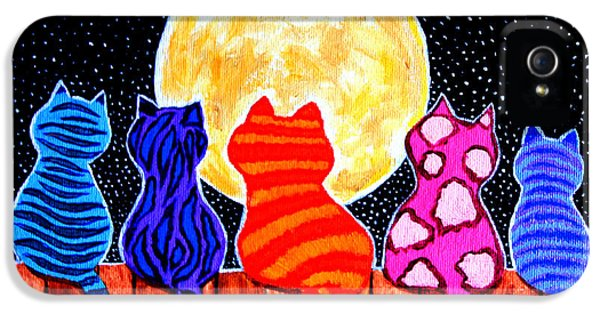 Whimsical iPhone 5 Cases - Meowing at Midnight iPhone 5 Case by Nick Gustafson