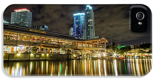Scenic iPhone 5 Cases - Miami Bayside at night iPhone 5 Case by Andres Leon