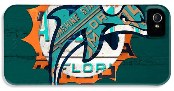 Miami Dolphins Football Team Retro Logo Florida License Plate Art IPhone 5 / 5s Case by Design Turnpike
