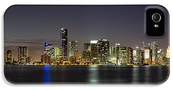 Skyline iPhone 5 Cases - Miami Skyline iPhone 5 Case by Andres Leon