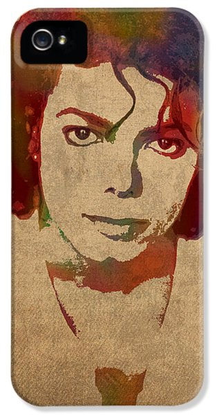 Michael Jackson iPhone 5 Cases - Michael Jackson King of Pop Watercolor Portrait on Worn Distressed Canvas iPhone 5 Case by Design Turnpike