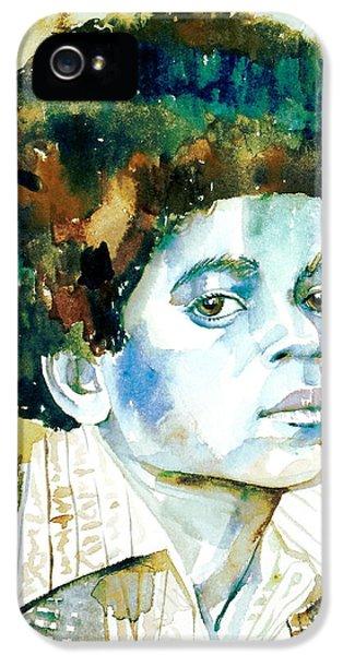 Jackson 5 iPhone 5 Cases - MICHAEL JACKSON - watercolor portrait.12 iPhone 5 Case by Fabrizio Cassetta