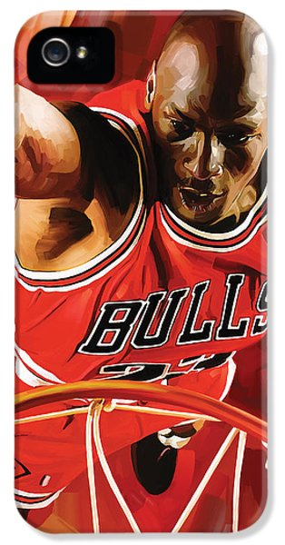 Nba iPhone 5 Cases - Michael Jordan Artwork 3 iPhone 5 Case by Sheraz A