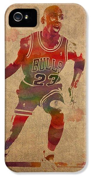 Michael Jordan iPhone 5 Cases - Michael Jordan Chicago Bulls Vintage Basketball Player Watercolor Portrait on Worn Distressed Canvas iPhone 5 Case by Design Turnpike