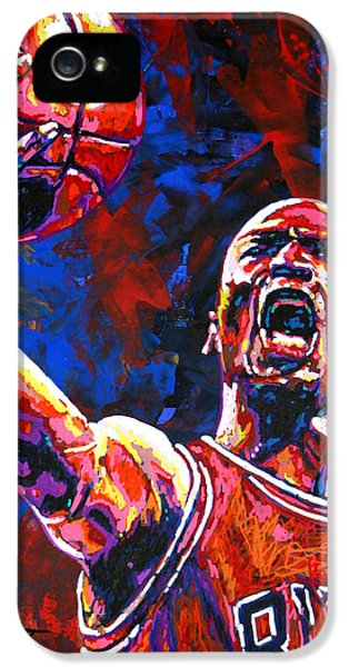 Nba iPhone 5 Cases - Michael Jordan Layup iPhone 5 Case by Maria Arango