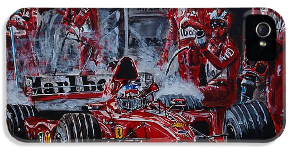 Michael Schumacher iPhone 5 Cases - Michael Schumacher out of the darkness iPhone 5 Case by Juan Mendez