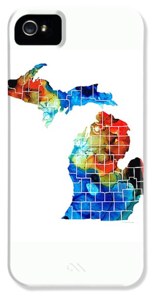 Michigan State Map - Counties By Sharon Cummings IPhone 5 / 5s Case by Sharon Cummings
