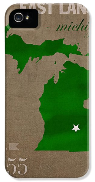 Michigan State University Spartans East Lansing College Town State Map Poster Series No 004 IPhone 5 / 5s Case by Design Turnpike