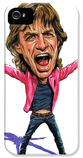 Art iPhone 5 Cases - Mick Jagger iPhone 5 Case by Art