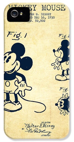 Mickey Mouse Patent Drawing From 1930 - Vintage IPhone 5 / 5s Case by Aged Pixel