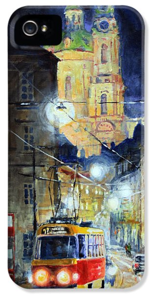 Old Tram iPhone 5 Cases - Midnight Tram  Prague  Karmelitska str iPhone 5 Case by Yuriy Shevchuk