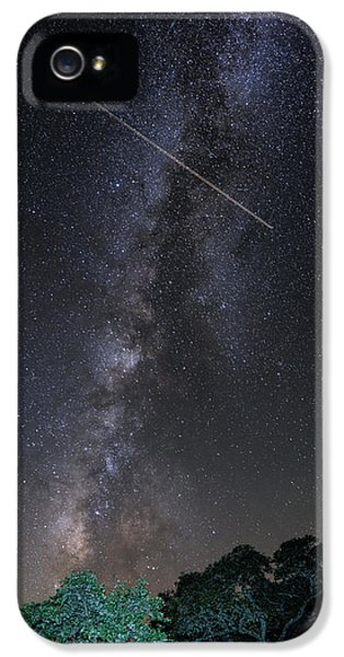 Milky Way Vertical Panorama At Enchanted Rock State Natural Area - Texas Hill Country IPhone 5 / 5s Case by Silvio Ligutti