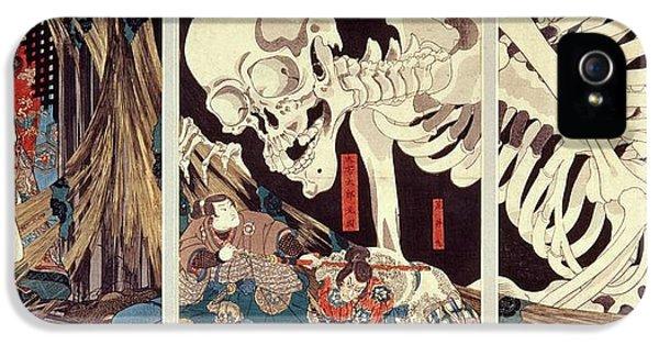 Ghost iPhone 5 Cases - Mitsukini Defying The Skeleton Spectre, C.1845 Hand Coloured Woodcut Print iPhone 5 Case by Utagawa Kuniyoshi