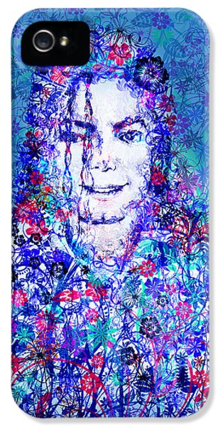 Moon Walk iPhone 5 Cases - MJ floral version 2 iPhone 5 Case by MB Art factory
