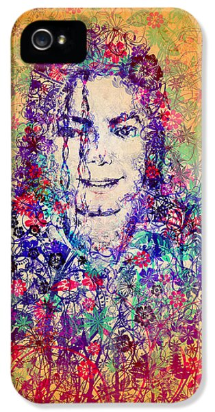 Moon Walk iPhone 5 Cases - MJ floral version 3 iPhone 5 Case by MB Art factory