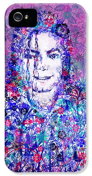 Moon Walk iPhone 5 Cases - MJ floral version iPhone 5 Case by MB Art factory