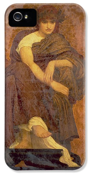 Classical iPhone 5 Cases - Mnemosyne, The Mother Of The Muses Oil On Canvas iPhone 5 Case by Frederic Leighton