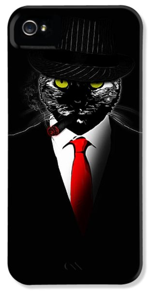 Suit iPhone 5 Cases - Mobster Cat iPhone 5 Case by Nicklas Gustafsson