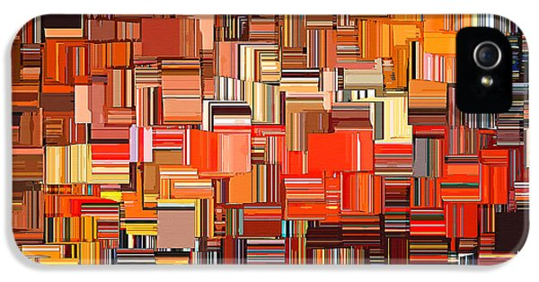 Tangerine iPhone 5 Cases - Modern Abstract XXXI iPhone 5 Case by Lourry Legarde
