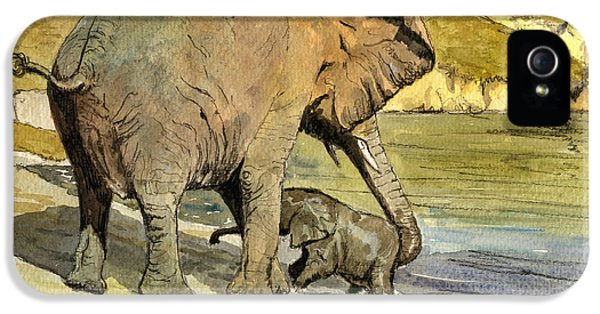 Tender iPhone 5 Cases - Mom and cub elephants having a bath iPhone 5 Case by Juan  Bosco