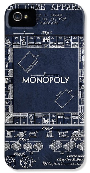 Monopoly iPhone 5 Cases - Monopoly Patent from 1935 - Navy Blue iPhone 5 Case by Aged Pixel