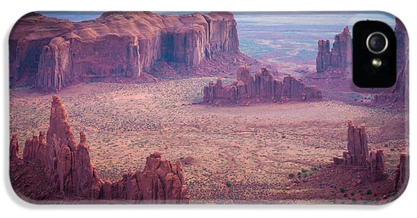 Desolate iPhone 5 Cases - Monument Valley from Hunts Mesa iPhone 5 Case by Inge Johnsson