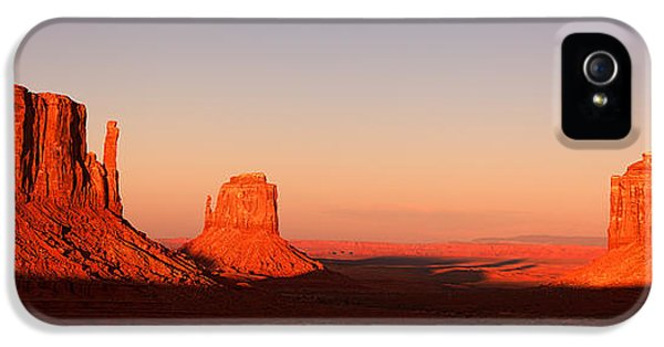Native American Indian iPhone 5 Cases - Monument valley sunset pano iPhone 5 Case by Jane Rix