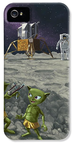Moon Walk iPhone 5 Cases - Moon Alien Kids Catapult Firing Game With Astronauts iPhone 5 Case by Martin Davey