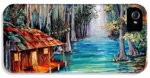 Bayou iPhone 5 Cases - Moon on the Bayou iPhone 5 Case by Diane Millsap