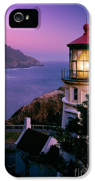 North America iPhone 5 Cases - Moon over Heceta Head iPhone 5 Case by Inge Johnsson