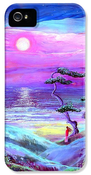 Turquoise iPhone 5 Cases - Moon Pathway iPhone 5 Case by Jane Small