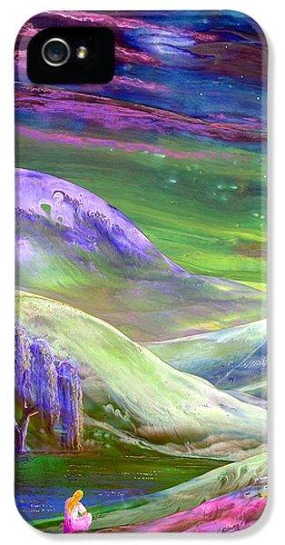 Calm iPhone 5 Cases - Moon Shadow iPhone 5 Case by Jane Small