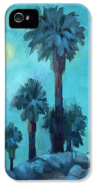 Moonrise iPhone 5 Cases - Moonrise and Palms iPhone 5 Case by Diane McClary