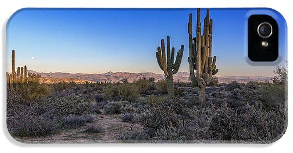 Moonrise iPhone 5 Cases - Moonrise Over Saguaro iPhone 5 Case by Rick Berk