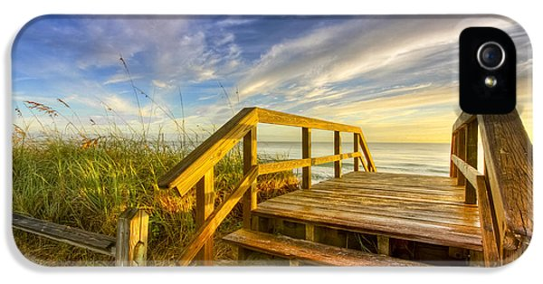 Blowing iPhone 5 Cases - Morning Beach Walk iPhone 5 Case by Debra and Dave Vanderlaan